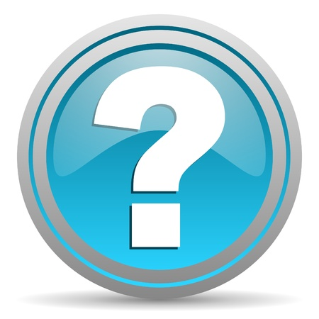 question mark blue glossy icon on white background photo