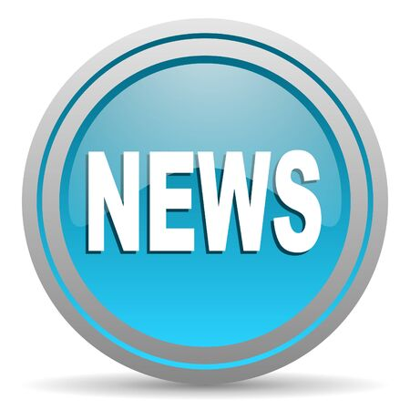 breaking news: news blue glossy icon on white background Stock Photo