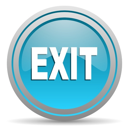 exit blue glossy icon on white background photo