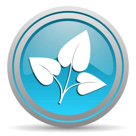 eco blue glossy icon on white background Stock Photo - 16809982
