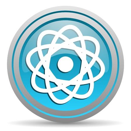 atom blue glossy icon on white background Stock Photo - 16810103
