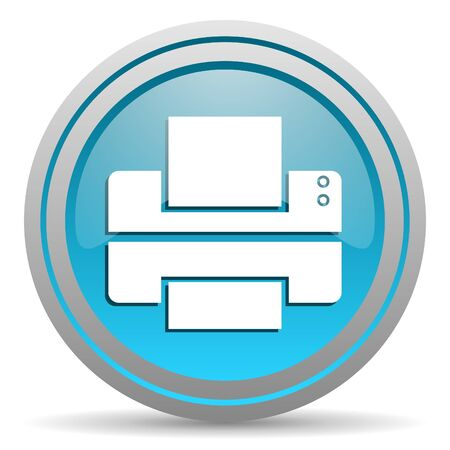 printer blue glossy icon on white background Stock Photo - 16809678