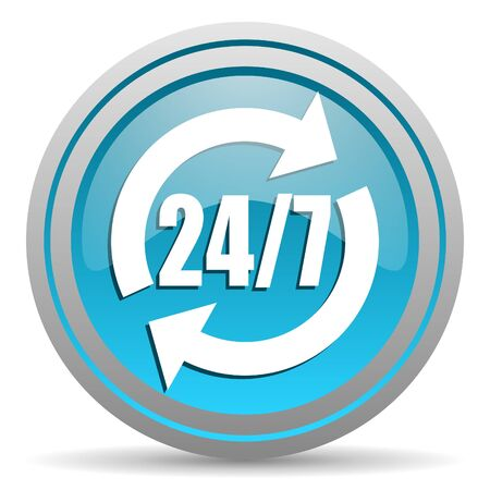 24/7 service blue glossy icon on white background Stock Photo - 16810016