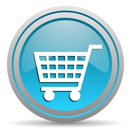 shopping cart blue glossy icon on white background Stock Photo - 16809967