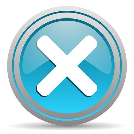 cancel blue glossy icon on white background Stock Photo - 16809724