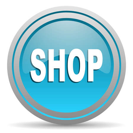 shop blue glossy icon on white background photo