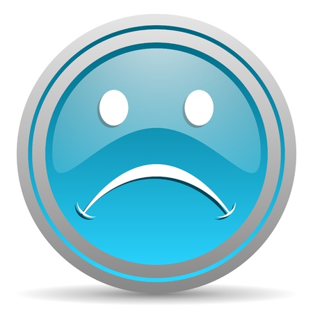 cry blue glossy icon on white background Stock Photo - 16809775