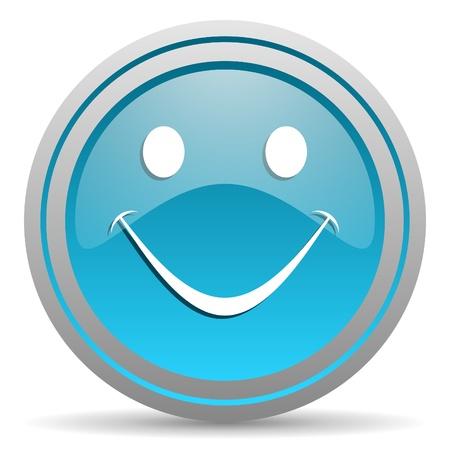 smile blue glossy icon on white background Stock Photo - 16809841