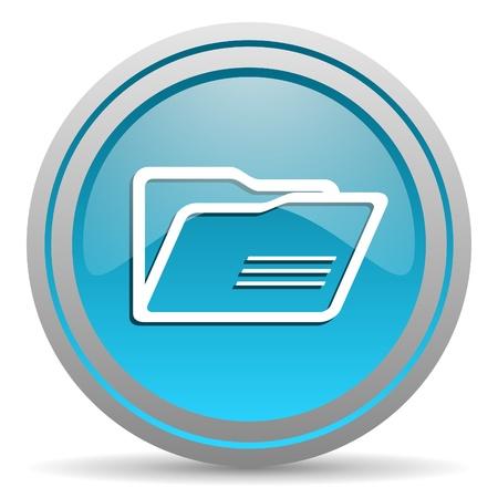 folder blue glossy icon on white background Stock Photo - 16809963