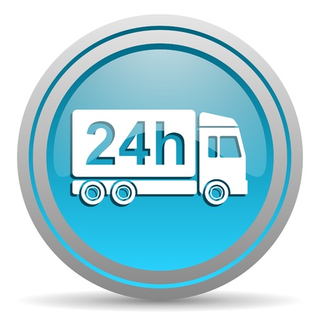delivery 24h blue glossy icon on white background Stock Photo - 16810055