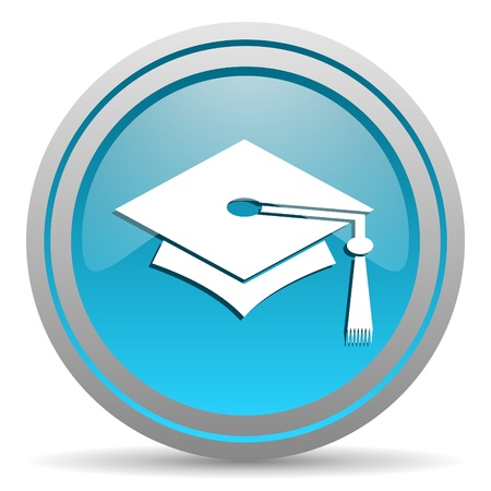 graduation blue glossy icon on white background photo