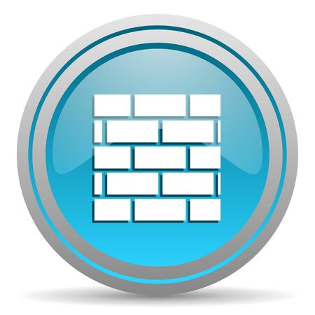 firewall blue glossy icon on white background Stock Photo - 16809839