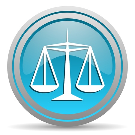 justice blue glossy icon on white background photo