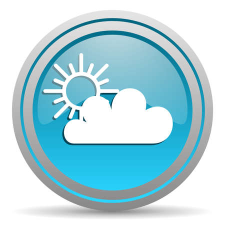 weather blue glossy icon on white background photo