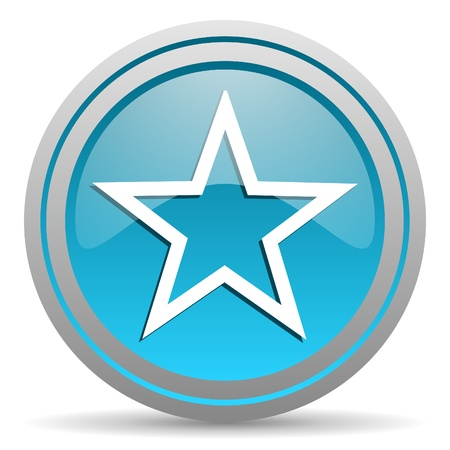star blue glossy icon on white background Stock Photo - 16809980