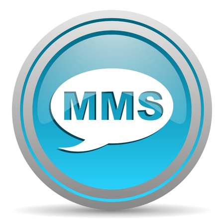 mms blue glossy icon on white background Stock Photo - 16809948