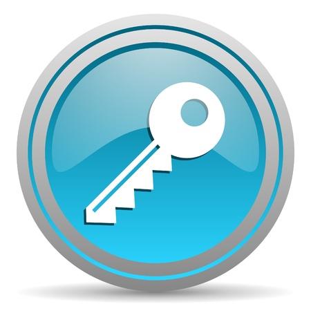 key blue glossy icon on white background photo