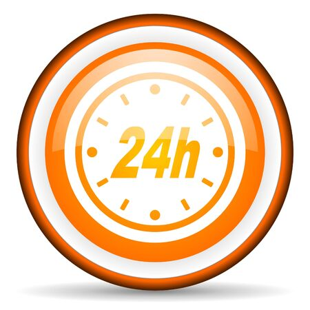 24h orange glossy icon on white background photo