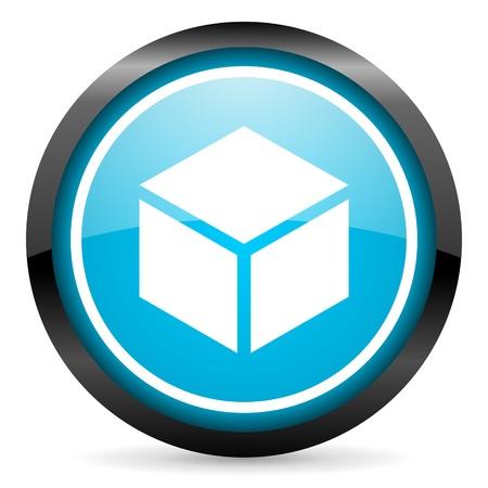box blue glossy icon on white background Stock Photo - 16945442