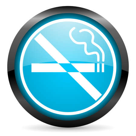 no smoking blue glossy icon on white background photo