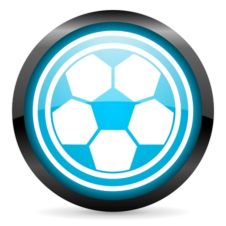 soccer blue glossy icon on white background photo