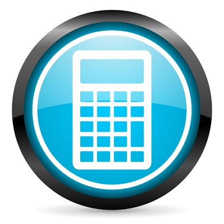 calculator blue glossy icon on white background Stock Photo - 16955290