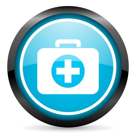 first aid kit blue glossy icon on white background photo