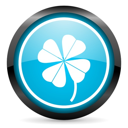 four-leaf clover blue glossy icon on white background Stock Photo - 16955305
