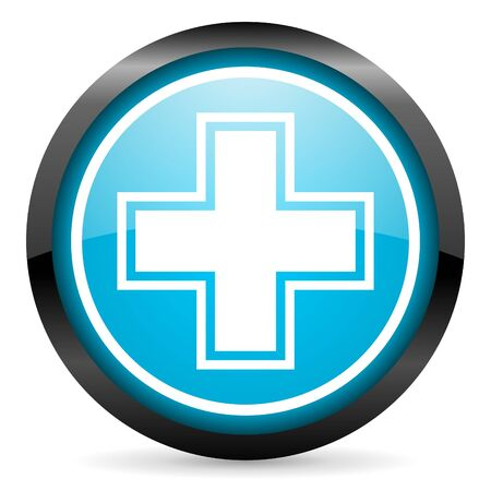 pharmacy blue glossy icon on white background photo