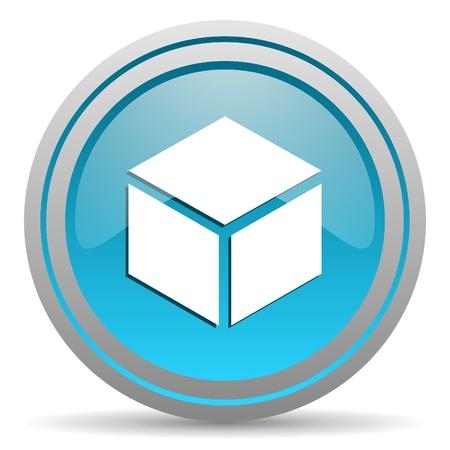 box blue glossy icon on white background Stock Photo - 16945460
