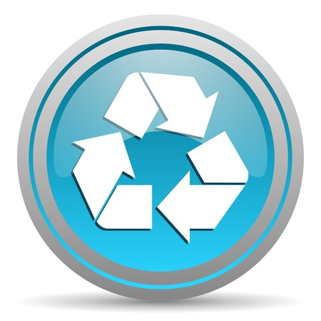 picto: recycle blue glossy icon on white background