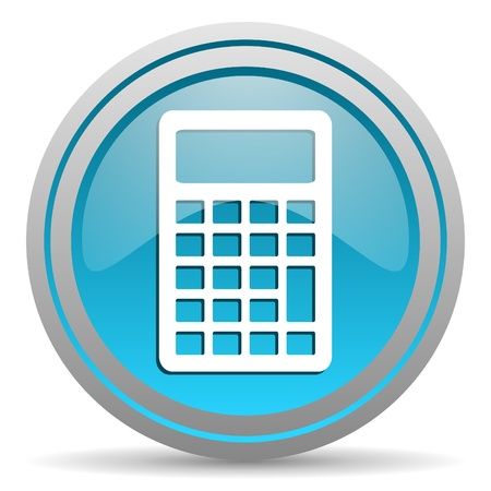 calculator blue glossy icon on white background Stock Photo - 16945478