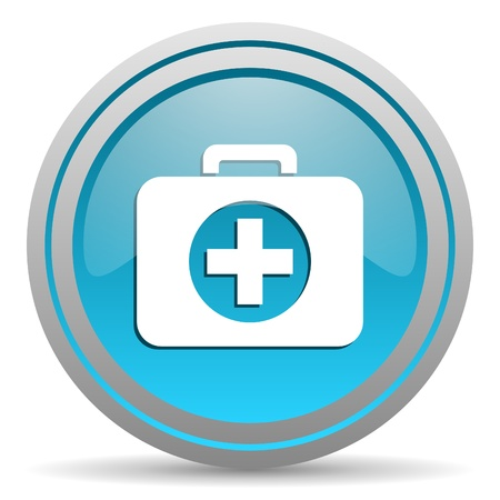 picto: first aid kit blue glossy icon on white background