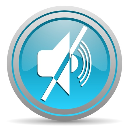 mute blue glossy icon on white background photo
