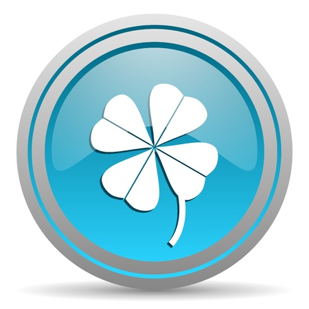 four-leaf clover blue glossy icon on white background Stock Photo - 16945471