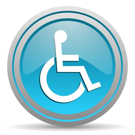 picto: accessibility blue glossy icon on white background