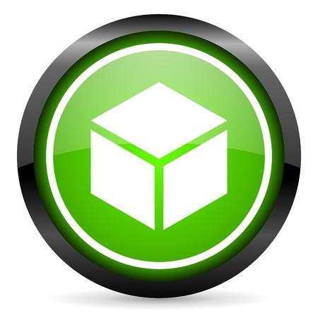 box green glossy icon on white background Stock Photo - 16955274
