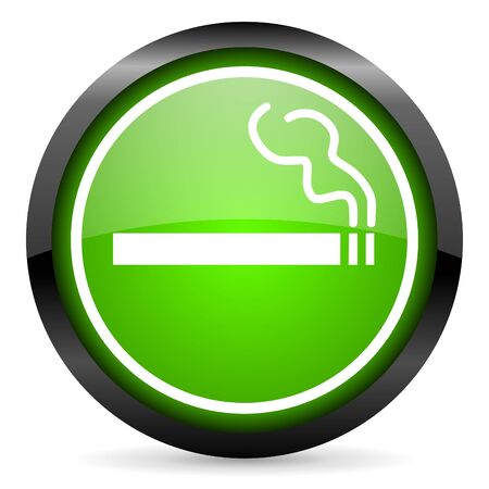 smoking green glossy icon on white background Stock Photo - 16955291