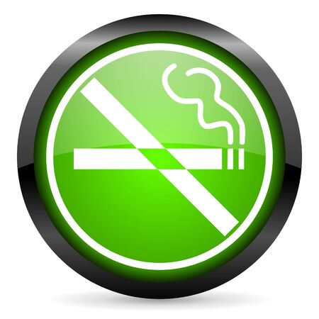 no smoking green glossy icon on white background Stock Photo - 16955322