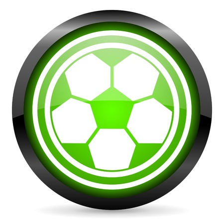 soccer green glossy icon on white background photo