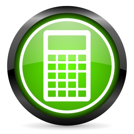 calculator green glossy icon on white background Stock Photo - 16955310