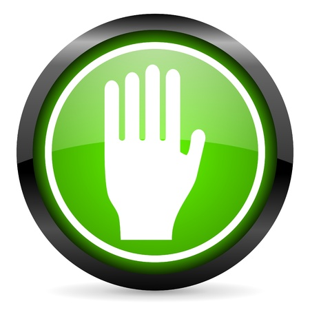 stop green glossy icon on white background Stock Photo - 16945450
