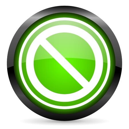 access denied green glossy icon on white background Stock Photo - 16955318