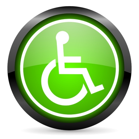 accessibility: accessibility green glossy icon on white background Stock Photo