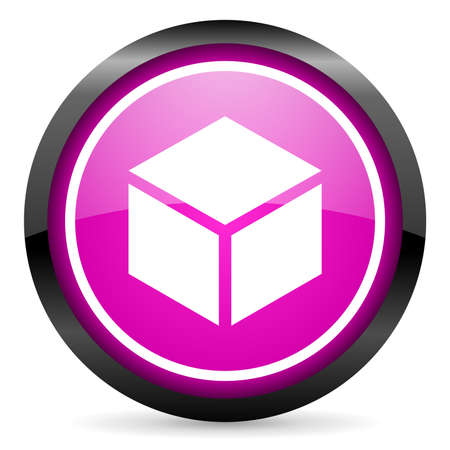 box violet glossy icon on white background Stock Photo - 16955273