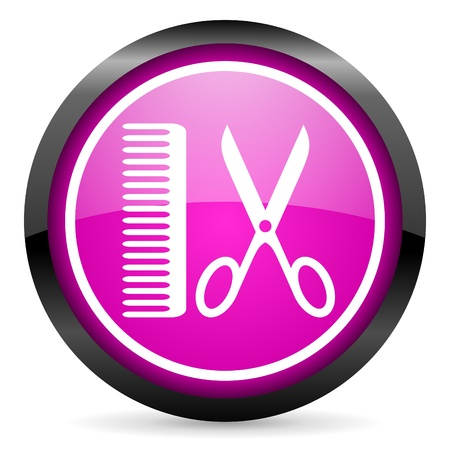 barber violet glossy icon on white background photo