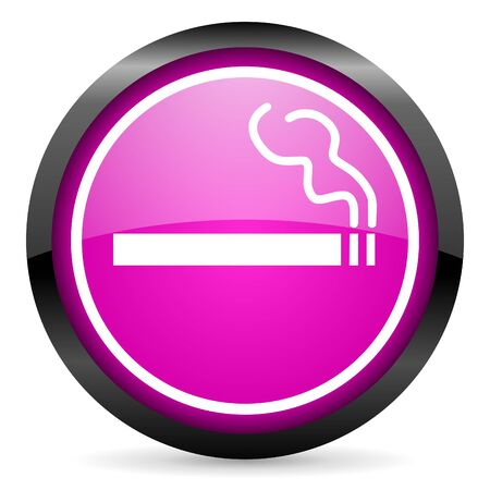 smoking violet glossy icon on white background Stock Photo - 16955286