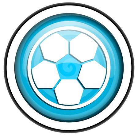 soccer blue glossy icon isolated on white background Stock Photo - 16955513