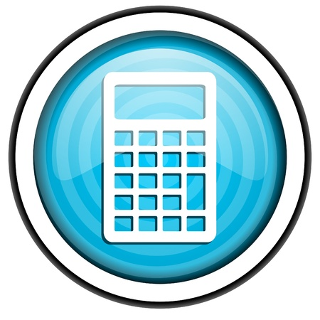 calculator blue glossy icon isolated on white background Stock Photo - 16955469