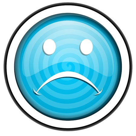 negate: cry blue glossy icon isolated on white background